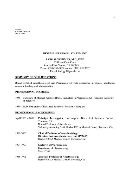 INHN Resume and personal statement